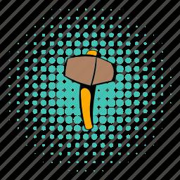 comics, halftone, hammer, metal, mine, ore, sledgehammer icon
