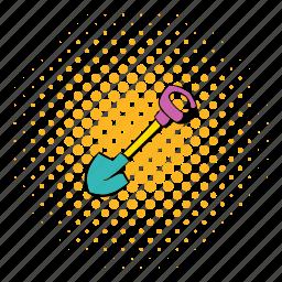 comics, dig, halftone, mine, orange, shovel, steel icon