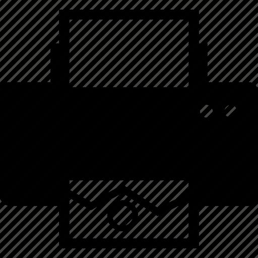 device, document, file, letter, print, printer icon