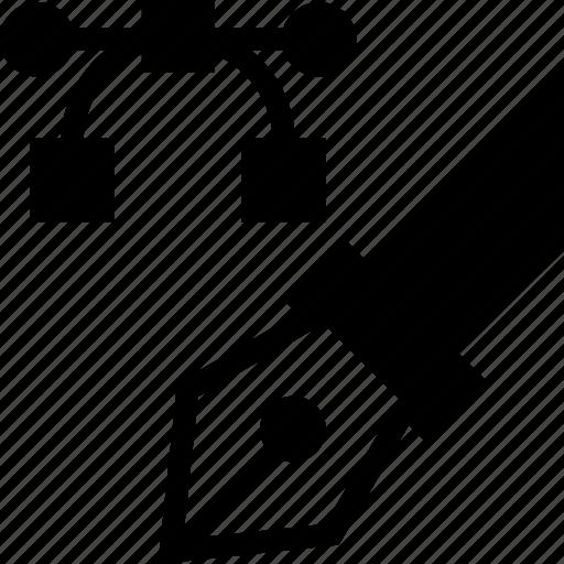 draw, fountain, ink, nodes, pen, vectorial icon