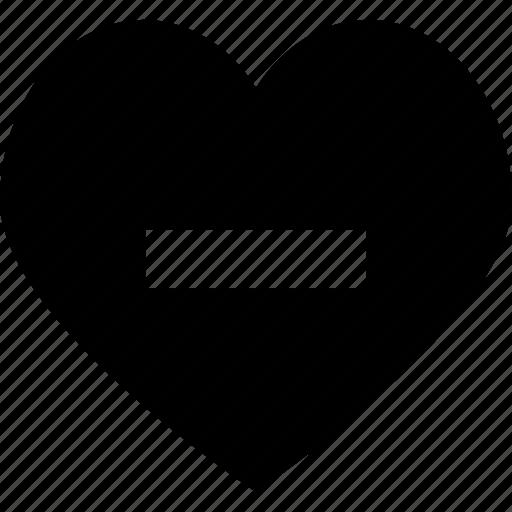 delete, favourite, heart, like, love, minus icon