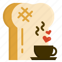 bread, breakfast, coffee, lover, tea, toast icon