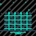 balustrade, barbed, barricade, enclosure, fence, parapet, stockade