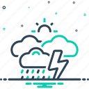 downpour, raindrops, rumble, storm, thunder, weather, whether icon