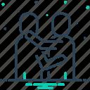 bear hug, clutch, cuddle, embrace, encircle, hug, squeeze icon