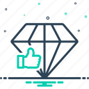 accept, application, diamond, feedback, good, like, shiner