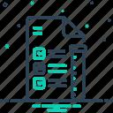checklist, experiment, flask, fluid, paper, report, test