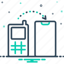 than, relocate, data, transfer, move, receive, copy icon