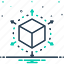 connection, cube, geometry, perspective, viewpoint icon