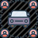car, carpooling, carsharing, pooling, ride, transportation, vehicle icon