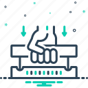 effort, handle, press, push, try, unlock icon