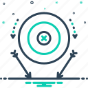 accurate, bullseye, fail, failure, miss, target, tarrow icon