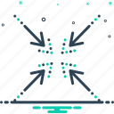 impact, centripetal, reduce, arrows, collapse, gravity, compress icon