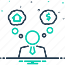 consider, guess, assume, suppose, think, imagine, brainstorm icon