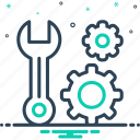 management, convenient, cogwheel, maintenance, useful, wrench, function icon