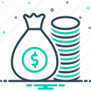 riches, wealth, rich, mammon, wealthy, money, piles icon
