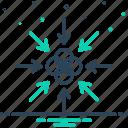 toward, center, next, continue, arrow, point, proceed
