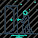 toward, door, indicate, direction, doorway, person, escape