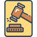 adjudicate, hammer, instructions, justice, lawsuits, proceeding, tribunal icon