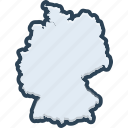 germany, map, border, contour, country, berlin, national