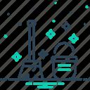 brooms, bucket, clean, distinguishable, neat icon