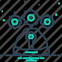 architecture, cogwheel, engineering, job, professional, teamwork icon
