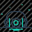 cogwheel, headphones, maintenance, operator, service icon