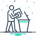 declutter, dustbin, people, throw icon
