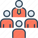 conglomeration, group, team, masses, fountainhead icon