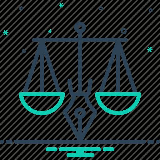 balance, judgment, justice, legality, legitimacy, punishment icon