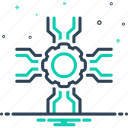 cogwheel, endorsement, service, support, technology icon