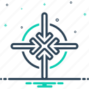 contracted, highway, merge, narrow, parochial, space, tight icon
