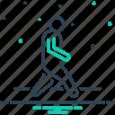 iteration, itinerancy, pace, tempo, trek, walk, walking