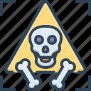 bone, dangerous, hazardous, horrible, menacing, parlous, perilous, riskful, sign, skull, unsafe icon