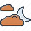 climate, cloud, galaxy, mainly, moon, sky, weather icon