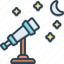 astronomy, cosmos, equipment, galaxy, looker on, magnify, observer icon