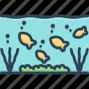 aquarium, below, beneath, bottom, under, underneath, underwater icon