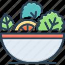 bowl, diet, editable, healthy, leaf, menu, vegetable icon