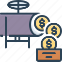 cash, currency, income, investment, money, money flow, revenues icon