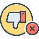 thumbs down, no, rejection, dislike, unassertive, refusal, negative icon