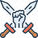 assault, extremism, invasion, offensive, onslaught, revolution, weapon icon
