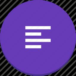 align, document, edit, left, material design, text icon