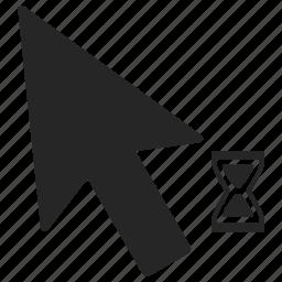 arrow, cursor, load, loading, mouse, pointer, sandglass icon