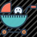 baby sitter, baby stroller, buggy, carriage, perambulator, pram, pushchair