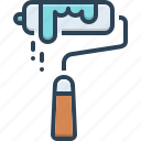 brush, colorant, coloring, paint roller, painter, renovation, stain icon