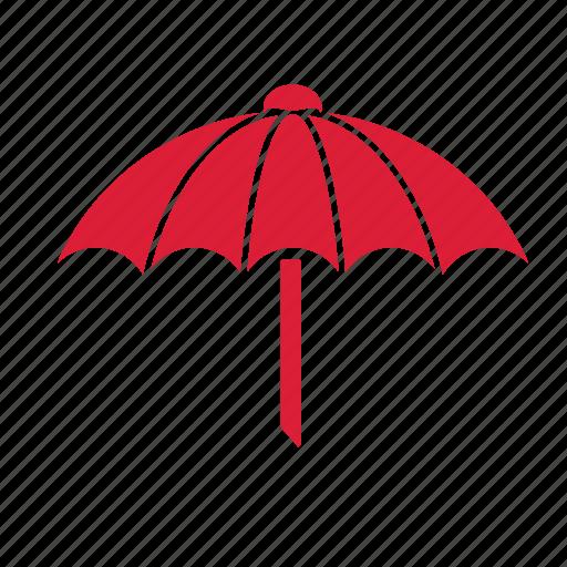 beach, forecast, rain, sunny, umbrella, weather icon