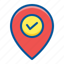 check, in, pin icon