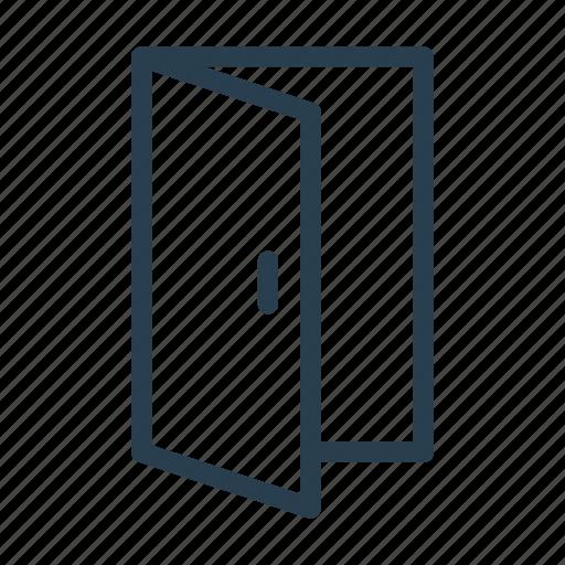 ajar, door, entrance, open icon