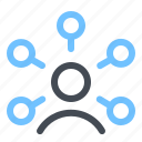 bussines, communication, connection, hosting, human, optimization, social network icon