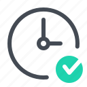 approve, clock, connection, network, optimization, seo, time icon